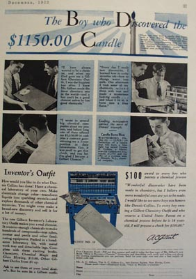 A.C.Gilbert Co Boy Discovered Candle Ad 1933