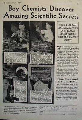 A.C.Gilbert Co Amazing Scientific Secrets Ad 1934