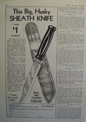 Pioneers Club Big Husky Sheath Knife Ad 1932