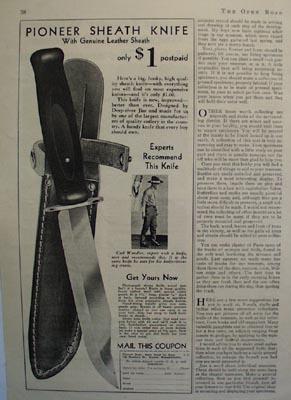 Pioneer Dept. Pioneer Sheath Knife Ad 1933