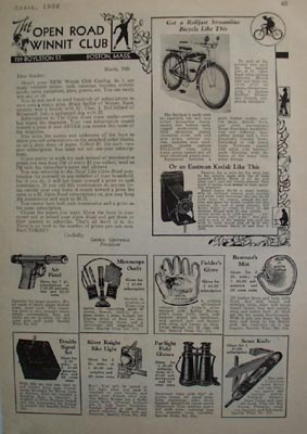 Open Road Subscription Prizes Bicycle Ad 1936