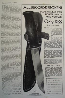 Pioneers Dept. All Records Broken Knife Ad 1936