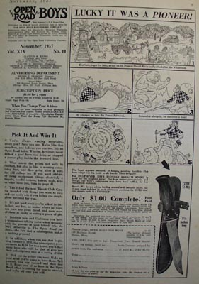 Pioneer Dept. Bear And Knife Cartoon Ad 1936