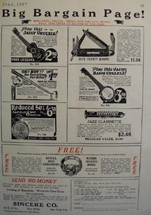 Sincere Co Big Bargain Page Ad 1927