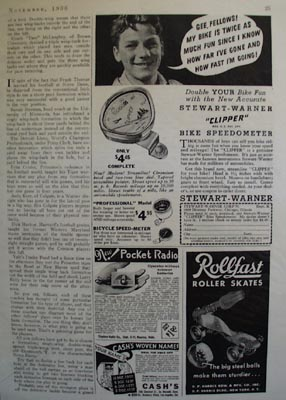 Stewart Warner Bike Speedometer Ad 1936