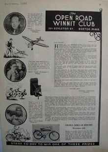 Open Road Winnit Club Subscription Prize Ad 1937