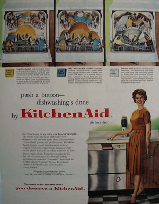 KitchenAid Dish Washer Push A Button Ad 1961