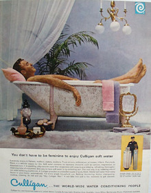 Culligan Sof Water Man In Bath Tub Ad 1965