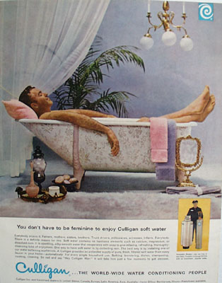 Culligan Sof Water Man In Bath Tub Ad 1965
