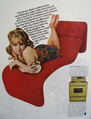 Norge Gas Range Lady Holding Clock Ad 1967