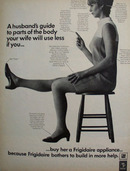 Frigidaire And Woman Seated On Stool Ad 1968