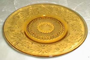 Indiana Glass Daisy Cup Saucer in Amber