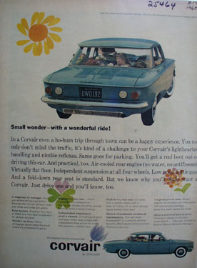 Chevrolet Corvair Small Wonder Wonderful Ride ad 1960