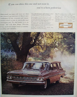 Chevrolet Nomad Wagon And Huge Tree Ad 1959