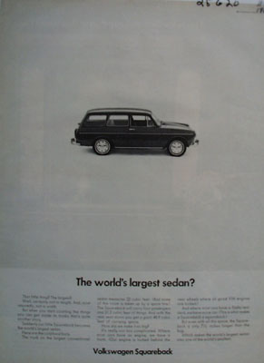 Volkswagen Squareback Largest Sedan Ad 1968