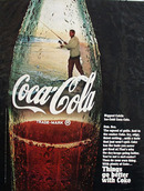 Coca Cola Man In Bottle Fishing Ad 1968