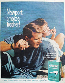 Newport Cigarette Smokes Fresher Ad 1964