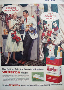 Winston Couple and Clown Ad 1957