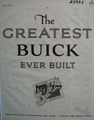 Buick Greatest Buick Ever Built Ad 1927