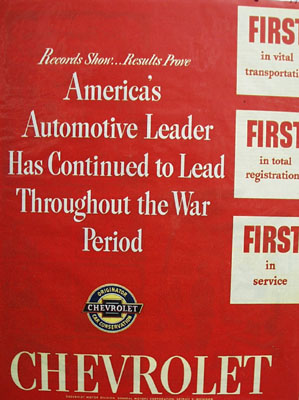 Chevrolet Leads Throughout War Period Ad 1945