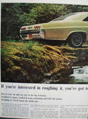 Chevrolet Interested In Roughing It Ad 1965