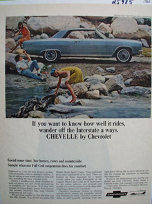 Chevrolet Chevelle Wander Off Interstate Ad 1965