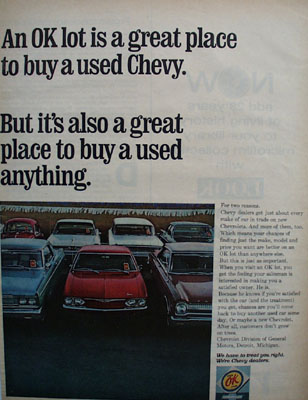 Chevrolet OK Lot to Buy Used Chevy Ad 1967