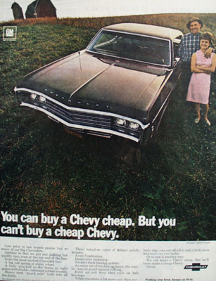 Chevrolet Buy A Chevy Cheap Ad 1969