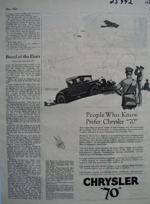 Chrysler People Who Know Prefer Chrysler Ad 1926