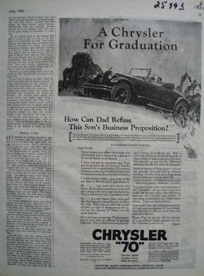 Chrysler For Graduation Ad 1926