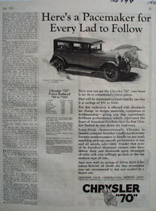 Chrysler A Pacemaker to Follow Ad 1926
