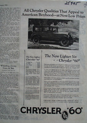 Chrysler Qualities That Appeal Ad 1926