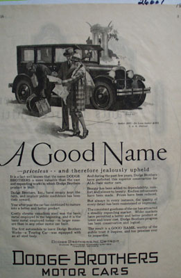 Dodge Bros A Good Name Ad 1926
