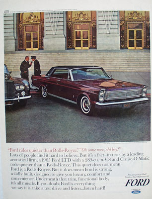 Ford Rides Quieter Than Rolls Royce Ad 1965