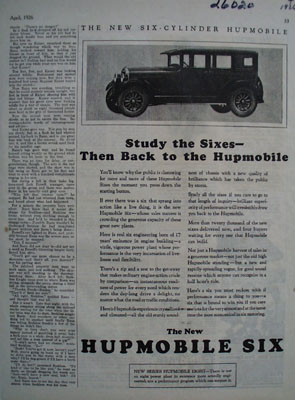 Hupmobile Study The Sixes Ad 1926