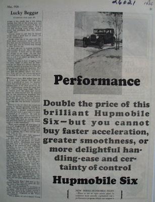 Hupmobile Performance Ad 1926