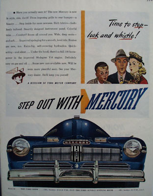 Mercury Time to Stop Look Whistle Ad 1945
