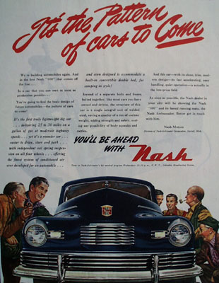 Nash Pattern Of Cars to Come Ad 1945