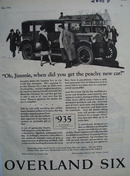 Overland Six Jimmie And His Peachie Car Ad 1926
