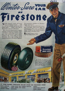 Firestone Winter Sure Your Car Ad 1945