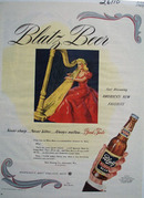 Blatz Beer Woman Playing Harp Ad 1944