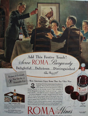 Roma Wine Elsa Maxwell Festive Touch Ad 1945