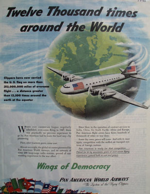 Pan American World Airways Around World Ad 1945