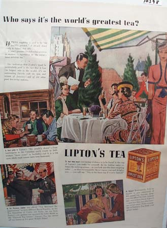 Lipton Tea Ad World's Greatest 1938