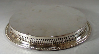 W M Rogers Tray, Silverplate, feather and fan design