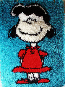 Lucy from Peanuts latch hook rug.