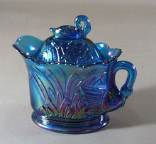Summitt Glass Swan creamer in Blue Carnival Glass.