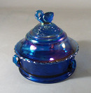 Summitt Glass Swan Covered Candy or Powder Dish in blue carnival glass