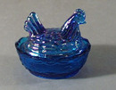 Summitt Glass Mini Hen on Nest in Blue Carnival Glass