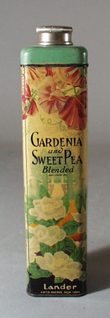 Gardenia and Sweet Pea Tin Talc can